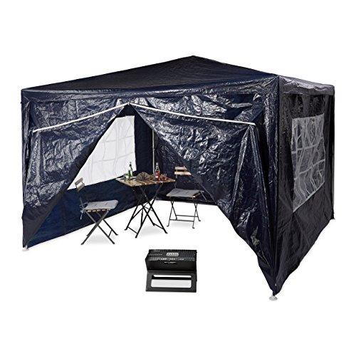 Relaxdays Tonnelle pergola 3x3 m , 4 côtés cadre métal PE tente de jardin fermée pavillon chapiteau, bleu