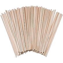 Palillos de Madera sin Acabado Palos Redondos para Manualidades 100 Pack (6 x 1/ 8 Pulgadas)
