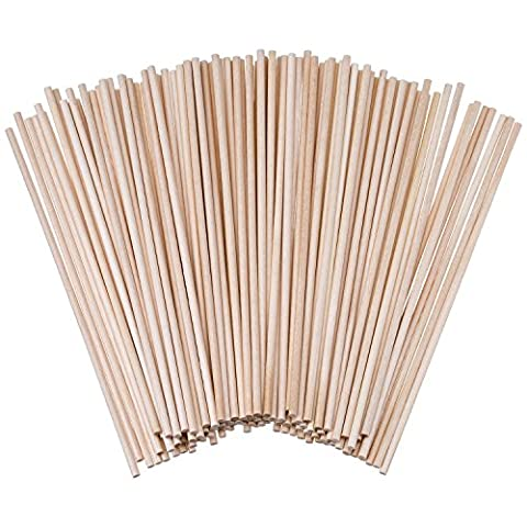 eBoot Unfinished Natural Wood Craft Dowel Rods 100 Pack (6 x 1/ 8 Inch)