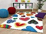 Kinder und Jugend Teppich Maui Herzen Bunt in 5 Größen