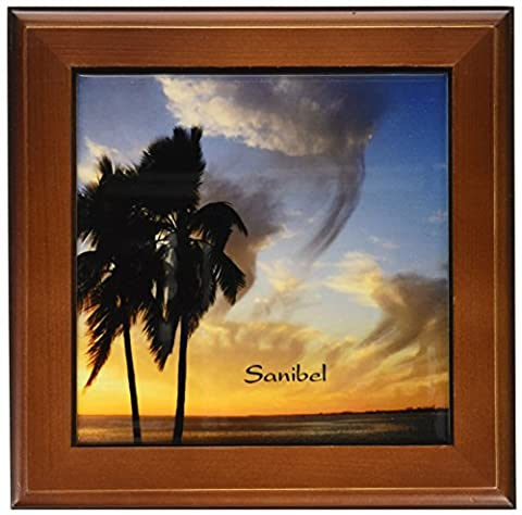 3dRose ft_174620_1 Image of Palm Silhouette at Sunset on Sanibel Island Florida-Framed Tile Artwork, 8 by