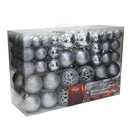 Wohaga® 1set di 100 palle di natale Ø3/4/6cm plastica argento - ornamento per l'albero di natale decorazione di natale decorazione per l'abete