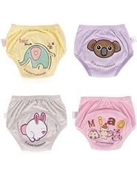 creamily® 4Pack bebé niñas niños Cute WC pee–Pantalones de entrenamiento para el orinal Cartton reutilizable gamuza de ropa interior pañales
