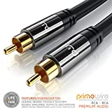Primewire - 10.0m HQ Subwoofer Cable   RCA Connector for Surround Sound / Dolby Digital / DTS   1x Cinch RCA to 1x Cinch RCA   Metal Shell Casing