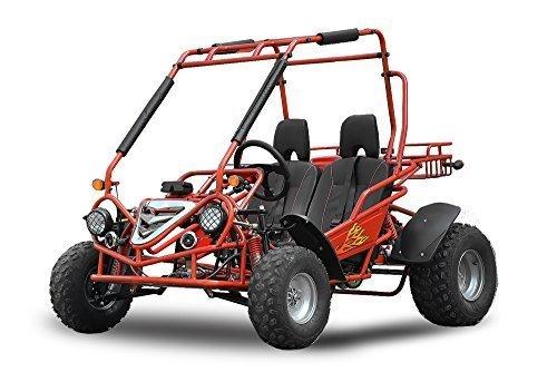 Maxi Buggy 200cc Ölgekühlt E-Start Automatik CVT mit Rückwärtsgang Offroad Quad ATV Bike Midi (Rot)