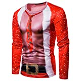 Oliviavan,Männer Herbst Winter Weihnachten Druck Top Männer langärmelige T-Shirt Bluse Cosplay Muskulöser Mann Herren Slim Fit Kapuzenpullover 3D Druck Sweatshirt Pullover