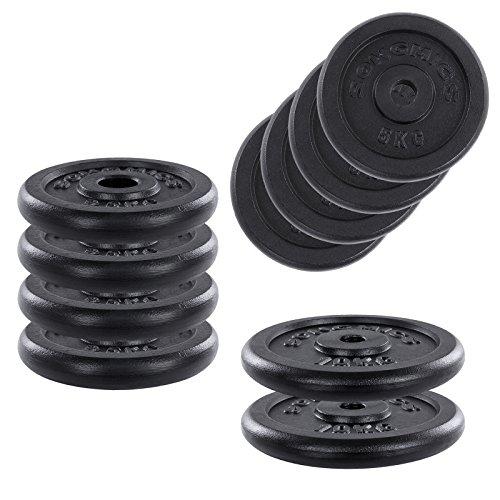 Songmics Hantelscheiben Gewichte Set aus Gusseisen 31 mm Bohrung 4 x 2,5 kg / 4 x 5,0 kg / 2 x 10,0 kg