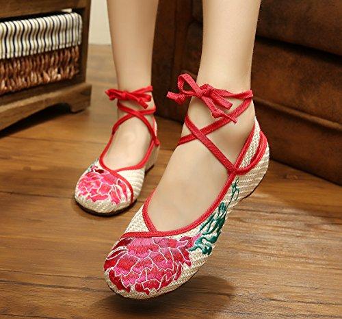 Femaleshoes Sehnensohle Schuhe Ethnischer Edge Bequem Red Stil amp;hua Bestickte Lotus Mode Beige q6wSw70
