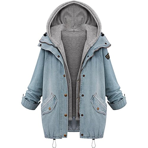 Mantel Damen Btruely Frau Beiläufig Jacke Winter Warmer Parka Mantel 2 Sets Overcoat (M, Blau)