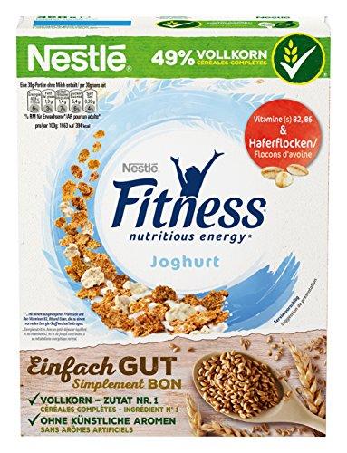 Nestlé Fitness Joghurt, Frühstückscerealien mit Vollkorn und teilweise Joghurtgeschmack, 4er Pack (4 x 350 g)
