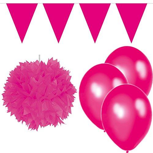 Carpeta 22-Teiliges Party-Set * Magenta Pink * für Geburtstag und Mottoparty mit Wimpelkette + Pom-Pom + Ballons // Dekoration Mädchen Rosa - 1 X Magenta-paket