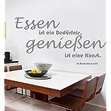 Wandschnörkel ® Wandtattoo AA094 ESSEN IST EIN BEDÜRFNIS... Küche Esszimmer Wand Aufkleber Spruch Wanddekoration