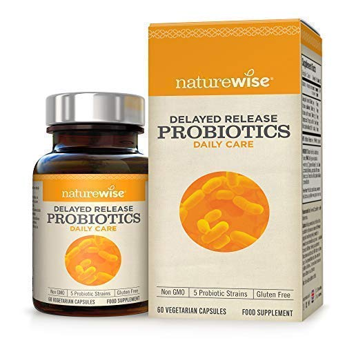 Delayed Release Probiotics from NatureWise - Max Strength Multi-Strain Probiotics Provide Digestive & Immune Support - 5 Strains Delivers 15x More Live Cultures - 2 Months Supply/60 Count