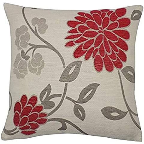 ForcoolStore CHENILLE FLORAL RED CREAM GREY RED light Throw Pillow Case Cushion Cover