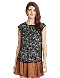 Arrow Womens Printed T-Shirt (AOSW6149_Black_Large_8907378494900)