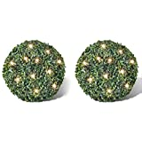 vidaXL Boxwood Ball Artificial Leaf Topiary Ball With Solar LED String 35cm 2 pcs