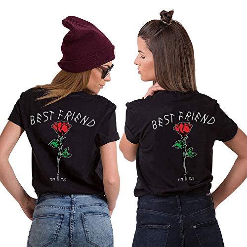 Best Friends Sister Shirt für Zwei Damen Mädchen Freund T-Shirts mit Rose BFF Tops Partnerlook Oberteil Freundschaft Geschenk 2 Stücke(Schwarz2,Sister-S+S) (Herzen Kind Königin Der)