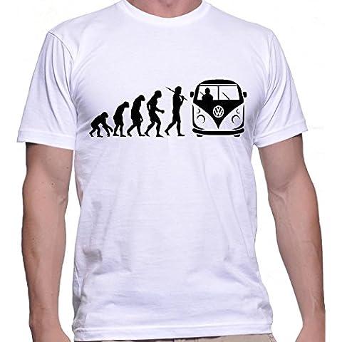 T-shirt da uomo con evoluzione di un camper autobus amanti a forma di camper colore da uomo stampa.