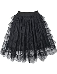Girls Skirt Black Lace Tiered Tutu Dancing Dress Age 7-14 Years