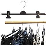 Hagspiel Kleiderbügel 20 Stk. Kleiderbügel aus Kunststoff, schwarz, mit 2 extra starken verschiebbaren Klammern, 40 cm