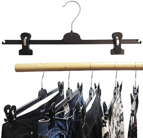 Preisvergleich Produktbild Hagspiel Kleiderbügel 20 Stk. Kleiderbügel aus Kunststoff, schwarz, mit 2 extra starken verschiebbaren Klammern, 40 cm