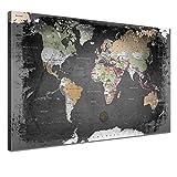 LANA KK Weltkarte Leinwandbild mit Korkrückwand zum pinnen der Reiseziele deutsch Kunstdruck, graphit, 150 x 100 cm