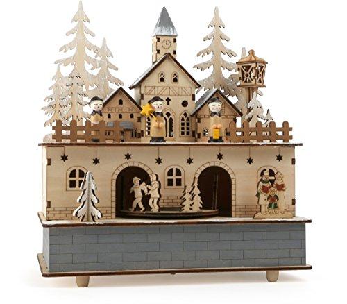 integrierten Lichtquellen, feine Elemente wie Kirche, Tannenbäume und Personen als winterliches Dorf, mit schöner Melodie beim aufziehen Spieluhr, Natur, 24 x 21 x 11 cm ()