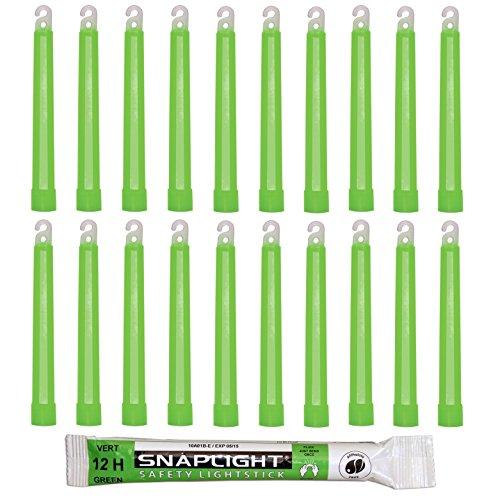 Cyalume Barras de luz verde SnapLight Glow Sticks 15cm, 6 inch Lightstick super brillante con duración de 12 horas (Caja de 20)