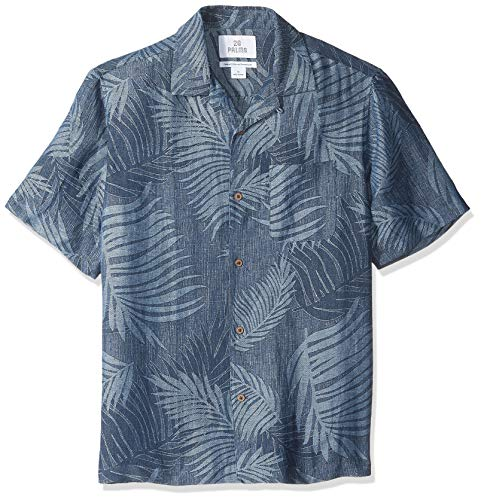 28 Palms Relaxed-Fit Silk/Linen Tropical Leaves Jacquard button-down-shirts, Navy, US M (EU M)