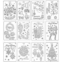 Healifty Weihnachten Zeichenschablonen Malerei Präge Schablone Muster für DIY Handwerk Album Scrapbooking Papier Karte Deko 12 Stück