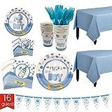 Vxhohdoxs 127-teiliges Party-Set für Babyparty, für 16 Personen, inklusive Teller, Becher, Tischservietten, Tischdecke und Banner, Messer, Löffel, Gabel blau