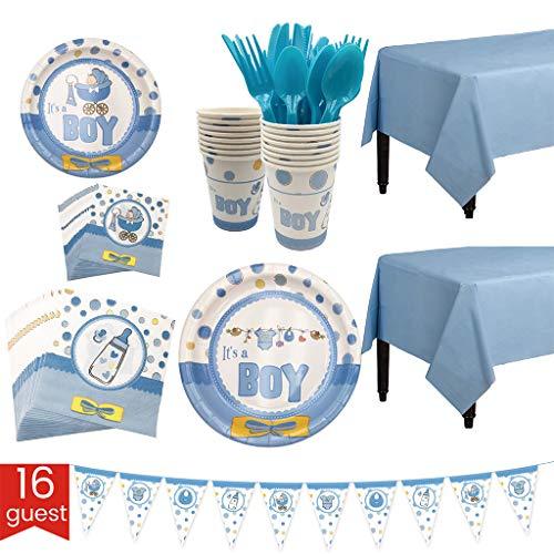 MIKI-Z 127 Piezas Baby Boy Shower Party Supplies Set