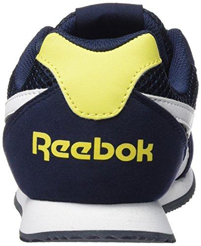 Reebok Royal Cljog 2rs, Chaussures de Running Entrainement Garçon Bleu / jaune / blanc (bleu marine collégial / jaune étincelle / blanc)