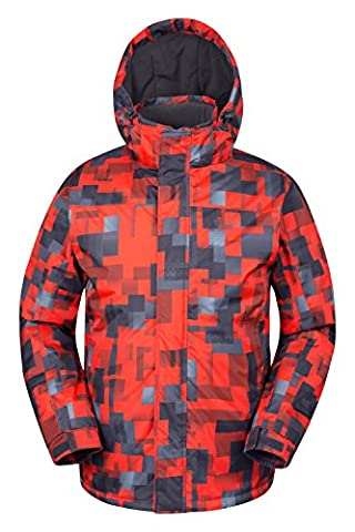 Mountain Warehouse Shadow Men's Printed Ski Jacket - Snow Proof, Insulated & Fleece Lined with Adjustable Hem, Cuff & Hood - Great for Entry Level Snowboarders & Skiers Orange