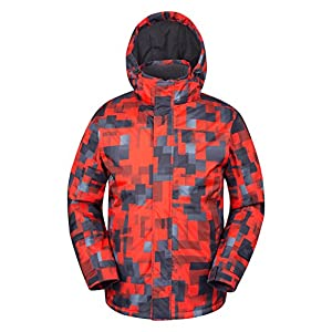 Mountain Warehouse Shadow Herren Gemusterte Skijacke – Wasserfeste Snowboardjacke, atmungsaktiv, schnelltrocknend, versiegelte Nähte, Skipassfach – Ideale Winterjacke