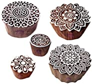 Traditional Pattern Mandala and Round Wood Block Stamps (Set of 5)