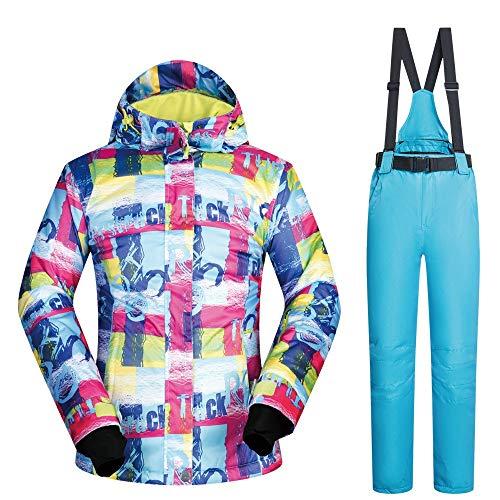 Skianzug Skijacke Frauen Wasserdichte Ski Snowboard Jacke wasserdicht Winddicht Schnee Mantel Ski Jacke und Hose Schnee isoliert Anzug (Farbe : Light Blue Pants, Größe : S)