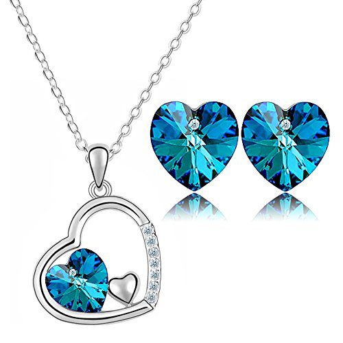 Valentine Gifts : : YouBella Valentine Collection Crystal Jewellery Pendant Necklace with Chain and Earrings