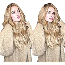 Sencillo Vida Pelucas Mujer Largo Colores Gradiente Postizos Pelo Ondulado  Señora Marrón Mezclad Pelo Natural Sintético 7bbad07df24b