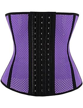 FeelinGirl - Corsé de moldeamiento de cintura para mujer, látex Lila mit Loch