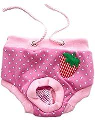 LianLe® (Para Perro Pequeño)Femenino perro interior fisiológica,temporada de calor perra de acoplamiento del patrón sólido,higiene, Pantalones modelada de las bragas,Pet menstruales bragas de perras en la ropa interior fisiológica del pañal reutilizable Pant ,rosa