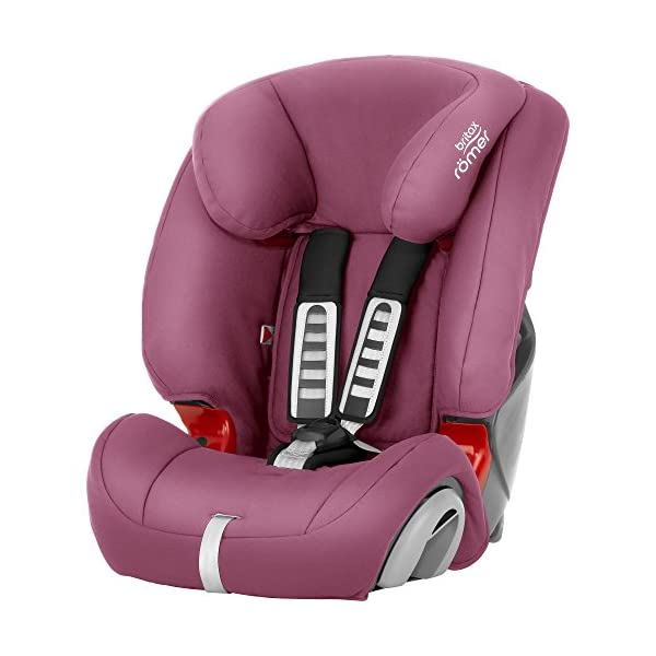 Britax Römer EVOLVA 1-2-3 Group 1-2-3 (9-36kg) Car Seat - Wine Rose  The EVOLVA 1-2-3 grows with your child as it can be used for children from 9 kg to 36 kg. This makes it the only car seat you'll need after an infant carrier Highback booster protection - As your little one grows, you can easily switch from the integral harness (up to 18 kg) to using the car's 3-point seat belt (up to 36 kg) to secure the child in the seat.  The upper and lower belt guides will provide correct positioning of the seat belt Recline position for all ages - the recline position provides a comfortable sleeping position for your child. simply adjust the seat before fitting it in your car 1