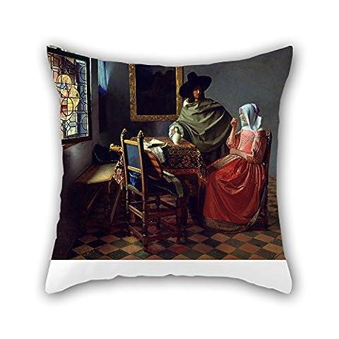 Beautifulseason la peinture à l'huile Jan Vermeer van Delft–Le verre de vin d'oreiller du, 45,7x 45,7cm/45, 45cm de décoration, cadeau pour elle, bureau, cuisine, siège auto, salon, bureau à domicile (deux fois plus SID