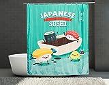 PANDAFARI | Duschvorhang | Japanese Sushi | Hochwertig bedruckt | Einzigartiges Design u. Qualität | Umweltfreundlich | 180x200cm | inkl.12 Ringe | Wasserdicht | Ohne Blei | Cooles Geschenk | haltbar