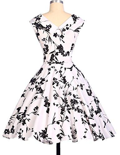 Vintage Aermellos Knielang Retro Blumenmuster Sommerkleid XL CL008901-3 -