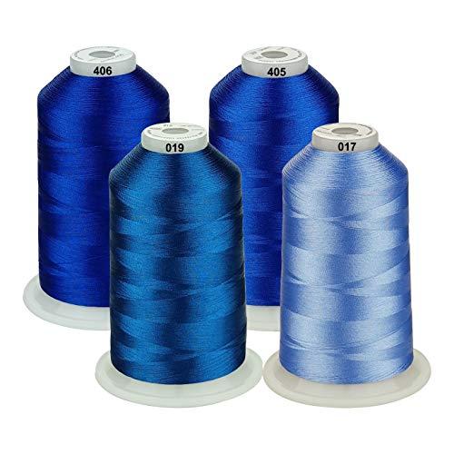 Simthread, 42 verschiedene Farben, verschiedene Farben, Polyester-Nähmaschinen, große Spule 5000 m für alle Stickmaschinen Blue Series