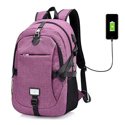 Zaino sport multifunzione L'interfaccia USB della donna dell'uomo Zaino da giardino portatile libero , purple purple