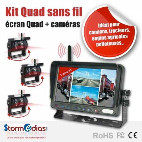 SISTEMA DI RETROMARCIA SCHERMO 7 POLLICI QUAD + 3 RETROCAMERE 150° WIRELESS - Wireless Quad