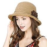 Comhats UPF Ladies Summer Straw Sun Hat Packable Beach Hats Clothe Bucket Hat
