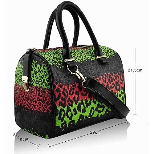 Trendstar Damen Entwerfer Schnappen Lächeln Kunstleder Promi Stil Stilvolle Tote Handtaschen M - Braun/Korallen/Grün